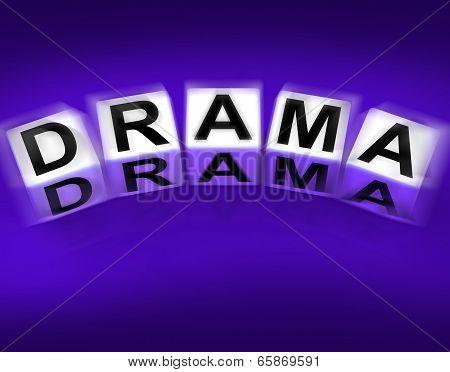 Drama Blocks Displays Dramatic Theater Or Emotional Feelings