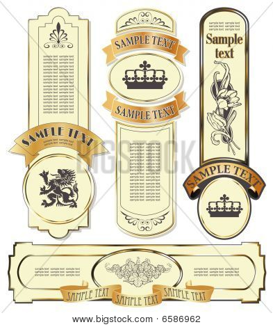 gold-framed labels