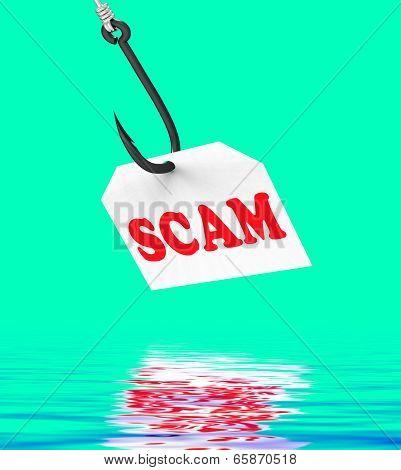 Scam On Hook Displays Schemes Or Deceits