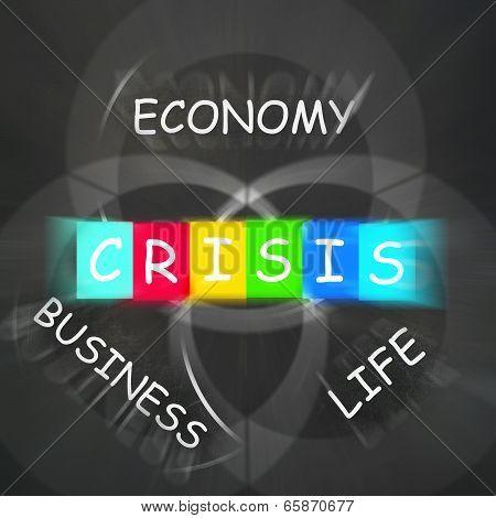 Business Life Crisis Displays Failing Economy Or Depression
