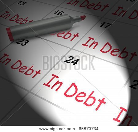 In Debt Calendar Displays Money Owing And Due