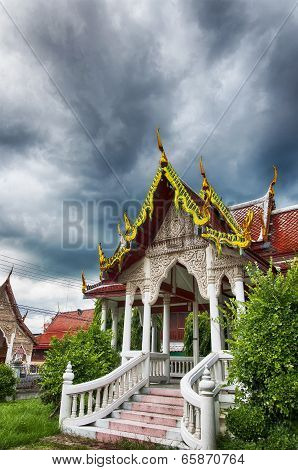 Phetchaburi Temple Stormy Sky