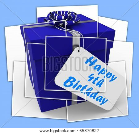Happy 4Th Birthday Gift Displays Congratulations On Four Years