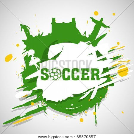 Creative poster, banner or flyer design with silhouette of Rio De Jenerio, and soccer ball player on grungy background.
