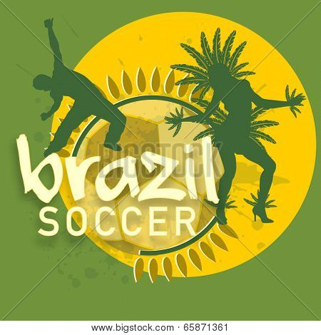 Vintage poster, banner or flyer design with Brazilian dance and stylish text Brazil Soccer on yellow and green background.
