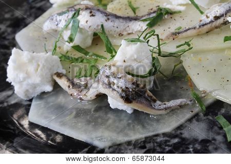 kohlrabi with anchovies and goats cheese