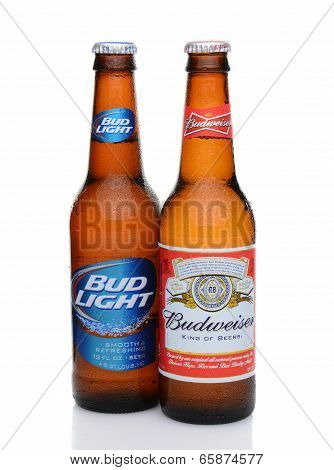 A Budweiser And Bud Light Bottle With Condensation