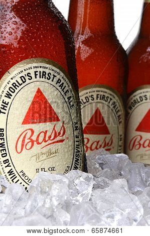 Closeup Of Bass Pale Ale Bottles