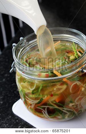 potted vegetable noodles in jar