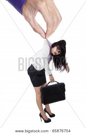 Businesswoman Controlled By Businessman