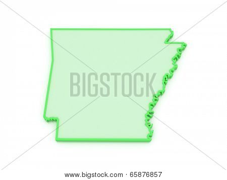 Three-dimensional map of Arkansas. USA. 3d