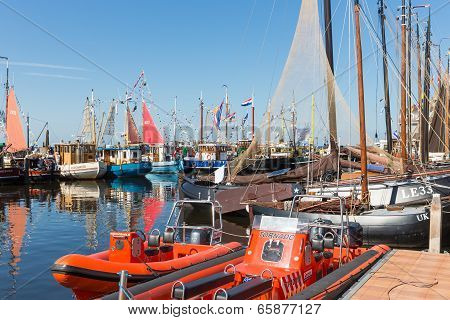 Fishing Day Decoratedl Fishing Ships In The Harbor Of Urk, The Netherlands
