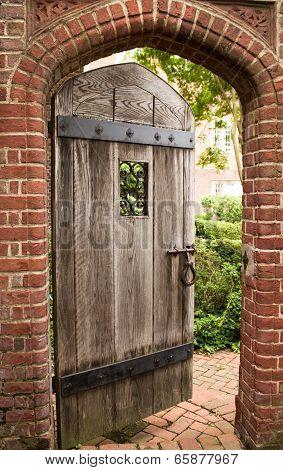 wooden door partially open