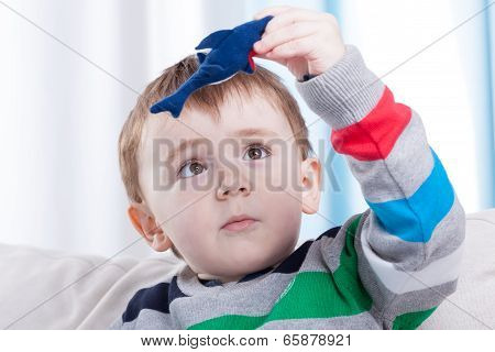 Boy Playing With Favourite Toy