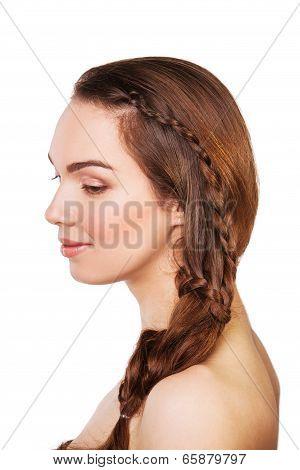 Portrait beautiful young woman. Long Brown Hair