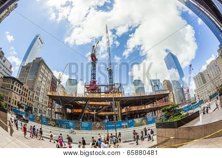 People At Construction Site Of Ground Zero In Manhattan, New York