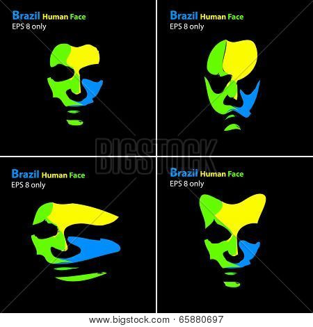 Brazil abstract portrait, easy all editable