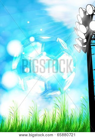 Vector Reflector Light stage with football ball soccer ball