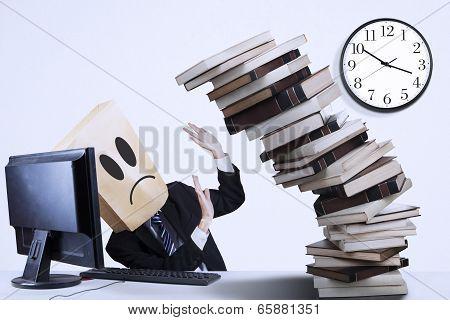 Sad Businessman With Many Task