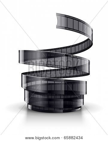 Spiral of cinematography film tape. Eps10 vector illustration. Isolated on white background