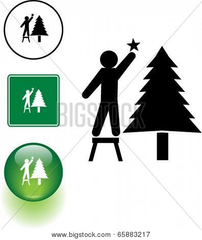placing a star in a Christmas tree