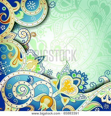 Abstract Yellow and Blue Floral Background
