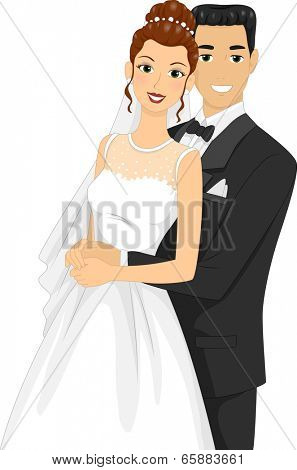 Illustration of Newlyweds Posing for a Wedding Photo