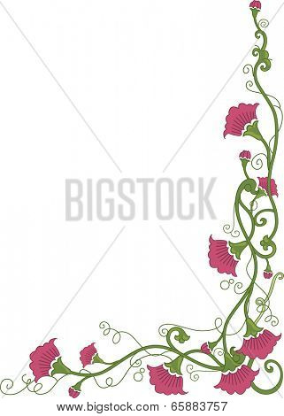 Corner Border Illustration Featuring Flowers Wrapped Around in Vines