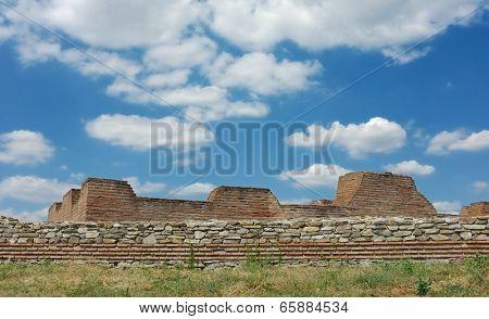 cloudscape on ruins Iustiniana Prima in Caricin Grad, Serbia