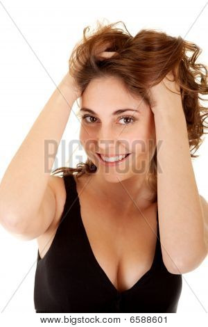 Smiling Woman In A Black Dress
