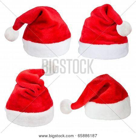 Set of red Santa Claus hats