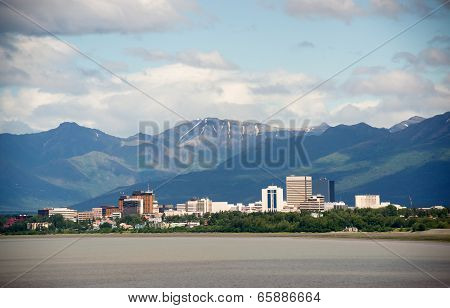 Office Buildings City Skyline Downtown Anchorage Alaska United States