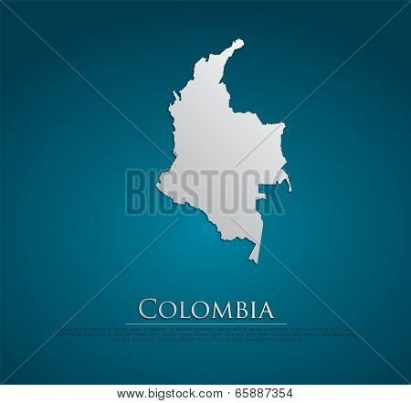 Colombia map card paper 3D natural, high detailed vector