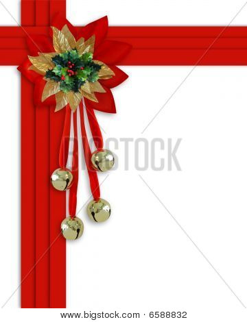 Christmas Border Bells and red ribbons