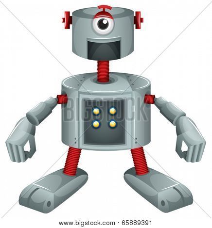 Illustration of a grey robot on a white background