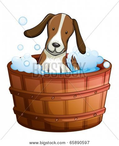 Illustration of a dog taking a bath at the bathtub on a white background