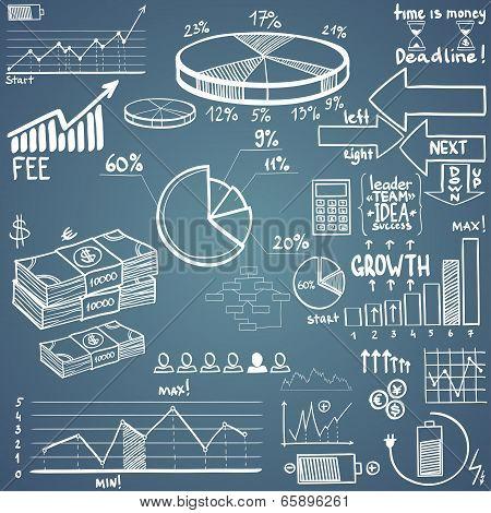 business finance doodle hand drawn elements. Concept - graph, chart, pie, arrows signs