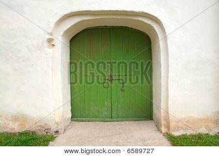 Medieval Wooden Door Painted In Green