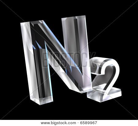 3d chemistry formulas in glass of Nitrogen