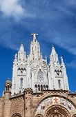 stock photo of sacred heart jesus  - Jesus Christus Statue at Expiatory Church of the Sacred Heart of Jesus  - JPG
