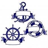 picture of rudder  - Set of banners with marine icons - JPG