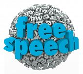 stock photo of freedom speech  - Free Speech words on a ball of 3d letters to illustrate liberty - JPG