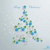 pic of x-files  - Christmas tree with white stars and blue baubles on the grey background - JPG