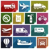 stock photo of dumper  - Transport flat icons with shadow - JPG