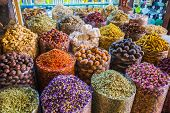 Dried Herbs Flowers Spices In The Spice Souq At Deira poster