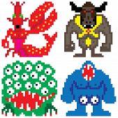 picture of terrifying  - worse nightmare terrifying monsters retro computer eight bit pixel art - JPG