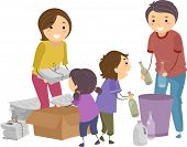 stock photo of segregation  - Illustration of a Family Segregating Trash - JPG