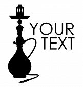 foto of peace-pipe  - Hookah silhouette with sample text - JPG