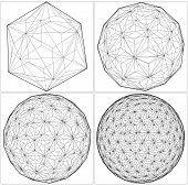 foto of octahedron  - From Icosahedron To The Ball Sphere Lines Isolated Illustration Vector - JPG