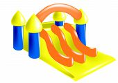 image of inflatable slide  - inflatable castle isolated on a white backgeound - JPG